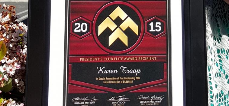Karen Troop receives President's Club Elite Award